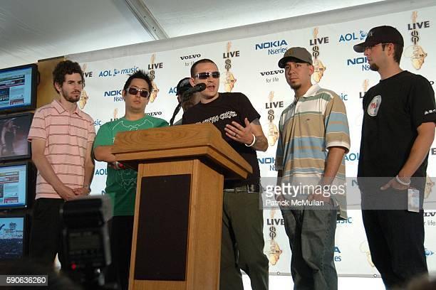 Brad Delson Joe Hahn Dave Farrell Chester Bennington and of Linkin Park attend Live 8 Philadelphia Press Room at The Philadelphia Museum of Art on...