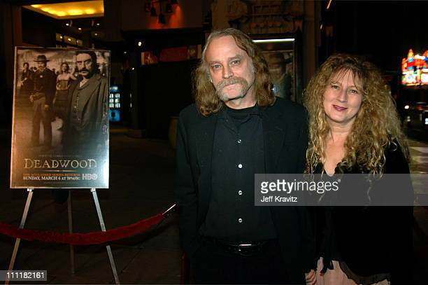 Brad Dourif and Claudia Handler during HBO's Deadwood Season 2 Los Angeles Premiere Arrivals at Grauman's Chinese Theater in Los Angeles California...