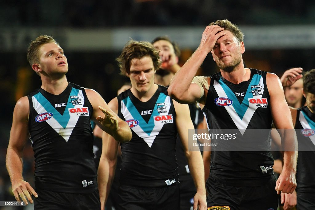 Brad Ebert of the Power walks from the field looking dejected after the round 15 AFL match between the Port Adelaide Power and the Richmond Tigers at Adelaide Oval on July 1, 2017 in Adelaide, Australia.