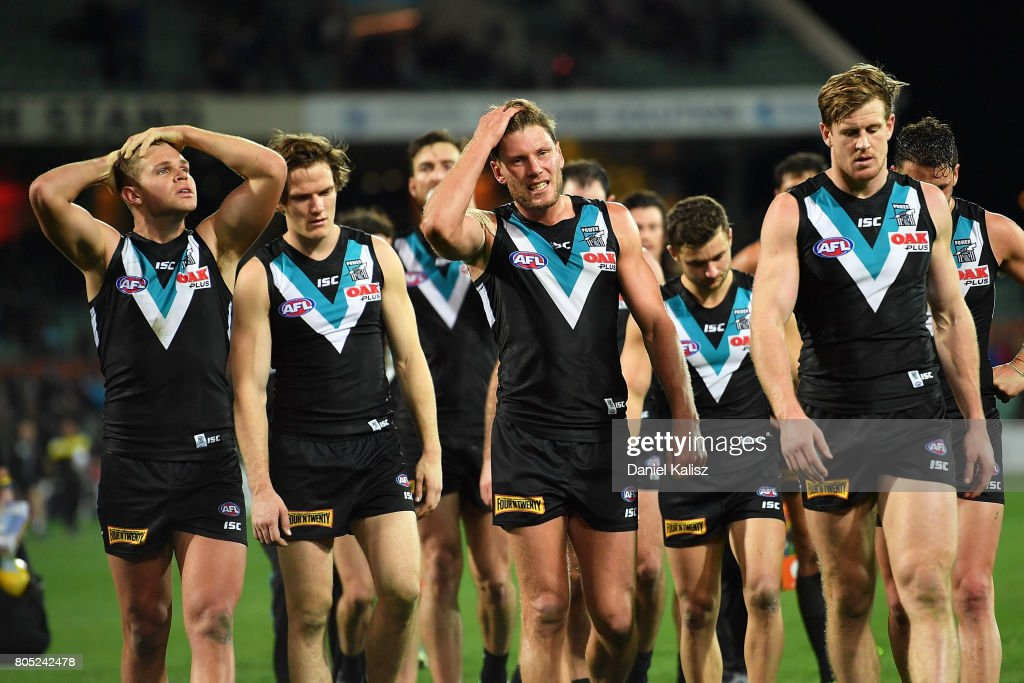 Brad Ebert of the Power walks from the field looking dejected during the round 15 AFL match between the Port Adelaide Power and the Richmond Tigers at Adelaide Oval on July 1, 2017 in Adelaide, Australia.