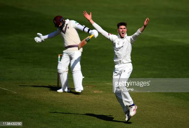 Brad Evans of Cardiff MCCU appeals for the wicket of Azhar Ali of Somerset during Day One of the English MCC University Match between Somerset and...