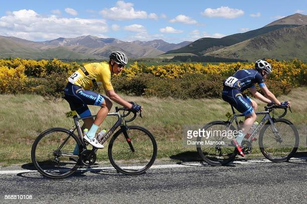Brad Evans of Dunedin and Roman van Uden of Auckland Powernet make their way towards Kingston during stage 3 of the 2017 Tour of Southland on...