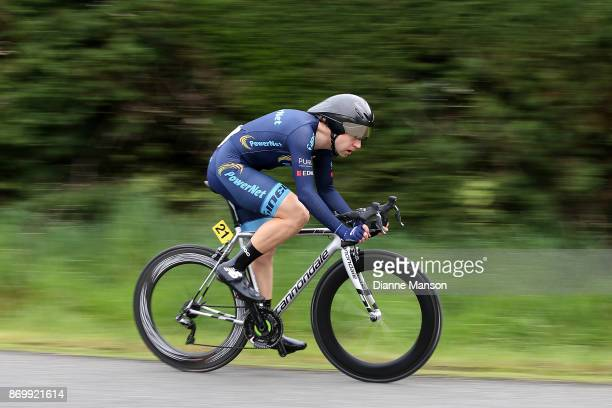 Brad Evans of Dunedin Powernet competes in the individual time trials at Winton during stage 6 of the 2017 Tour of Southland on November 4 2017 in...