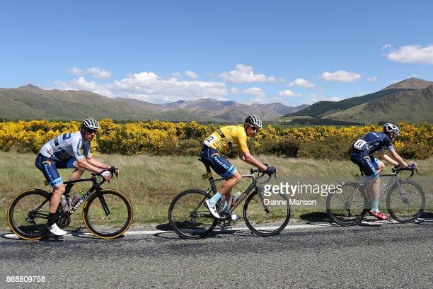 Brad Evans of Dunedin Roman van Uden of Auckland Paul Odlin of Christchurch Powernet make their way towards Kingston during stage 3 of the 2017 Tour...