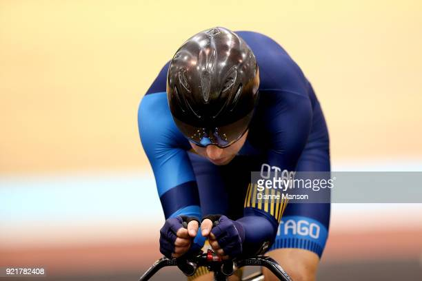 Brad Evans of Otago warms up ahead of competing in the Elite Men 4000m Individual Pursuit during the New Zealand Track Cycling Championships on...