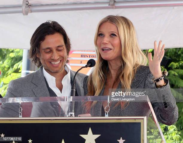 Brad Falchuk and Gwyneth Paltrow attend a ceremony honoring Ryan Murphy with a star on The Hollywood Walk of Fame on December 04 2018 in Hollywood...