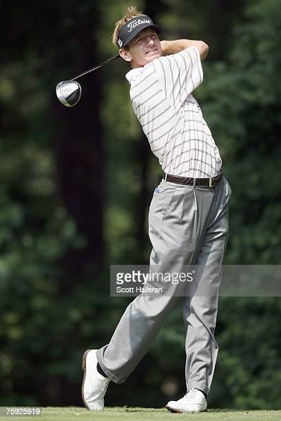 Brad Faxon hits a shot during the second round of the AT&T National at Congressional Country Club on July 6, 2007 in Bethesda, Maryland.