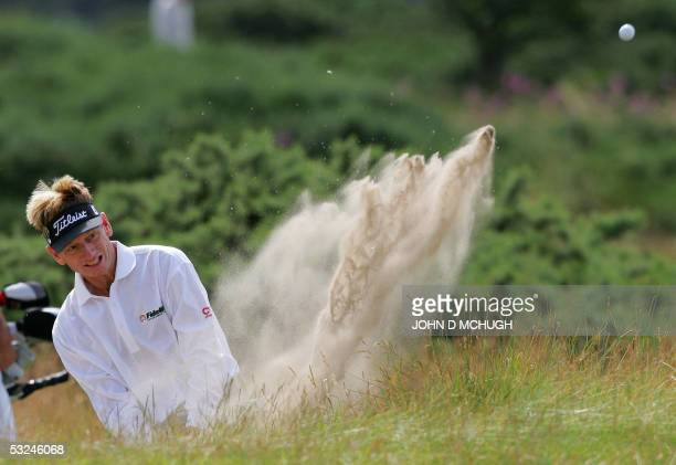 Brad Faxon of the US hits out of a trap on the 4th hole during the third round of the 134th Open Championship on the Old Course in St. Andrews,...
