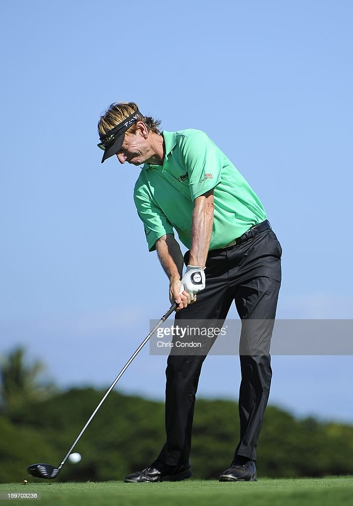 KA'UPULEHU-KONA, HI - JANUARY 18: Brad Faxon plays from the second tee during the first round of the Mitsubishi Electric Championship at Hualalai Golf Club on January 18, 2013 in Ka'upulehu-Kona, Hawaii.