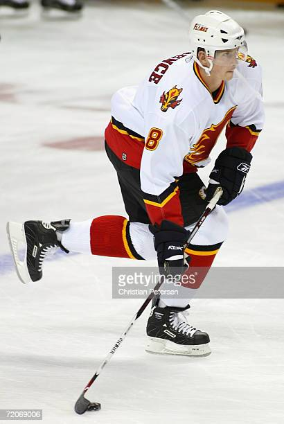 Brad Ference of the Calgary Flames warms up before the preseason NHL game against the San Jose Sharks held on September 30 2006 at the HP Pavilion in...