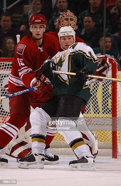 Brad Ference of the Phoenix Coyotes battles for position in front of the net with Brenden Morrow of the Dallas Stars on February 14 2004 at Glendale...
