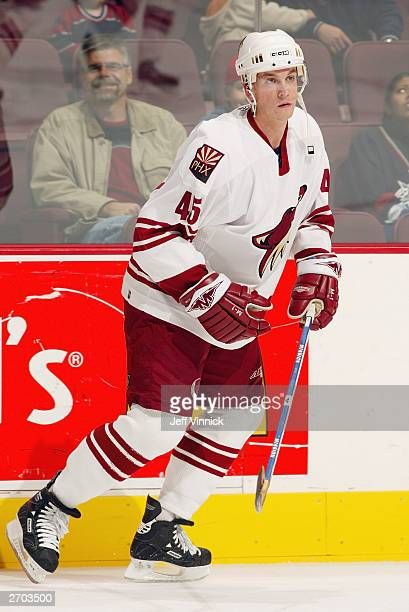 Brad Ference of the Phoenix Coyotes skates during warmups prior to the game against the Vancouver Canucks at General Motors Place on October 26 2003...