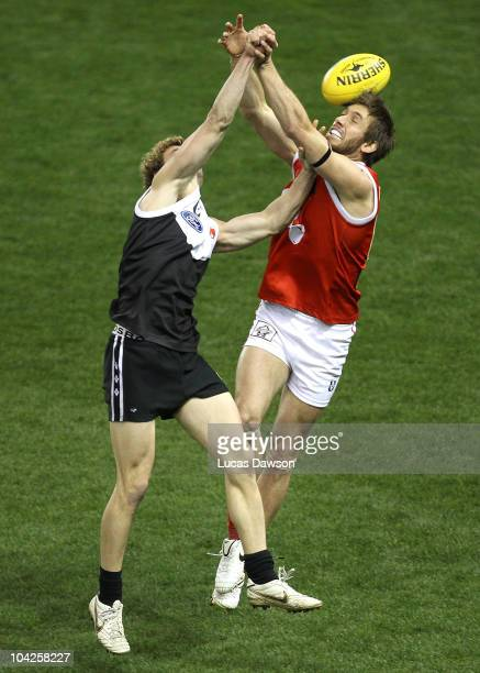 Brad Fisher of the Northern Bullants attempts a mark during the VFL Grand Final match between North Ballarat and the Northern Bullants at Etihad...
