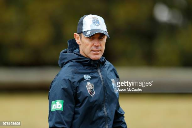 Brad Fittler head coach of the Blues during a New South Wales Blues State of Origin training session at Moore Park on June 19 2018 in Sydney Australia