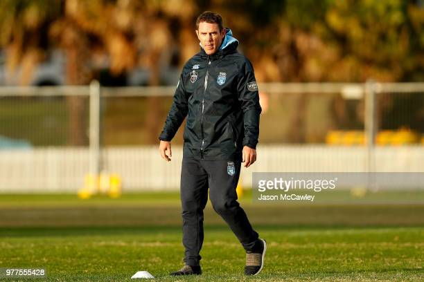Brad Fittler head coach of the Blues looks on during a New South Wales Blues State of Origin recovery session at Coogee Oval on June 18 2018 in...