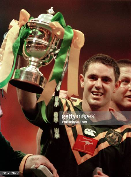 Brad Fittler of Australia holds aloft the Rugby League World Cup following the Final at Wembley Stadium in London on 28th October 1995 Australia won...