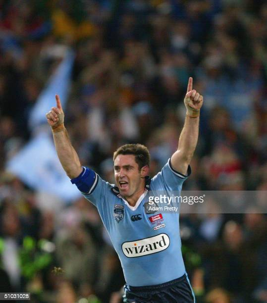 Brad Fittler of the Blues scores a try during game three of the NRL State Of Origin series between the New South Wales Blues and the Queensland...