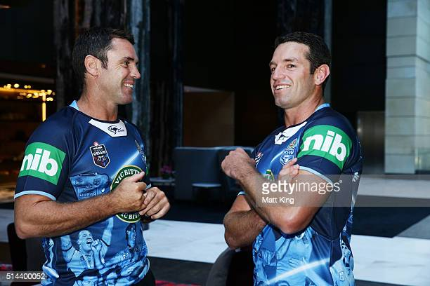 Brad Fittler speaks to Danny Buderus during a jersey presentation to the winning New South Wales State of Origin captains at The Star on March 9 2016...