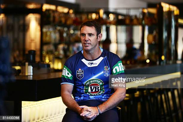 Brad Fittler speaks to the media during a jersey presentation to the winning New South Wales State of Origin captains at The Star on March 9 2016 in...