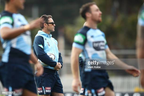 Brad Fittler watches on during a New South Wales Blues State of Origin training session at Coogee Oval on July 3 2018 in Sydney Australia