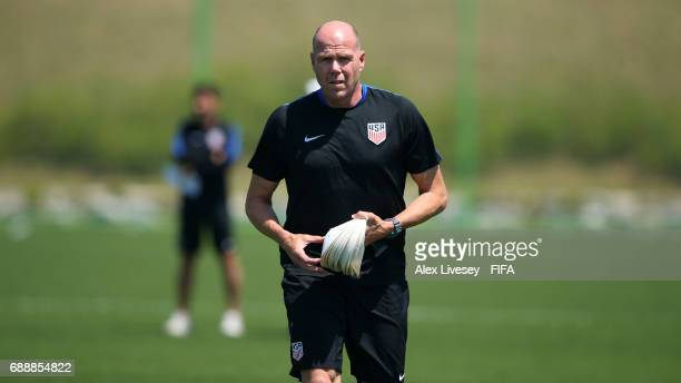 Brad Friedel a coach of USA sets up a training session at the Deokam Football Centre during the FIFA U20 World Cup on May 27 2017 in Daejeon South...