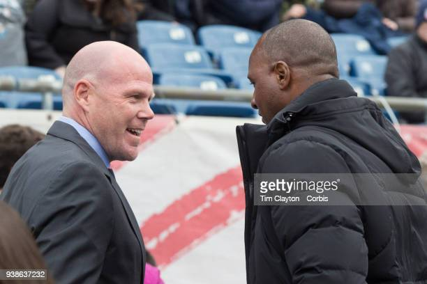 Brad Friedel head coach of New England Revolution and Patrick Vieira head coach of New York City FC meet on the sideline before the New England...