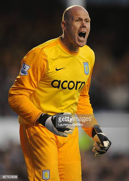 Brad Friedel of Aston Villa during the Barclays Premier League match between Everton and Aston Villa at Goodison Park on October 31 2009 in Liverpool...