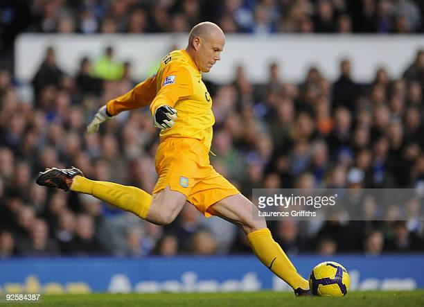 Brad Friedel of Aston Villa in action during the Barclays Premier League match between Everton and Aston Villa at Goodison Park on October 31 2009 in...