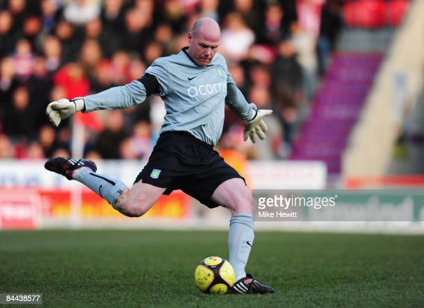 Brad Friedel of Aston Villa in action during the FA Cup Sponsored by Eon 4th Round match between Doncaster Rovers and Aston Villa at the Keepmoat...