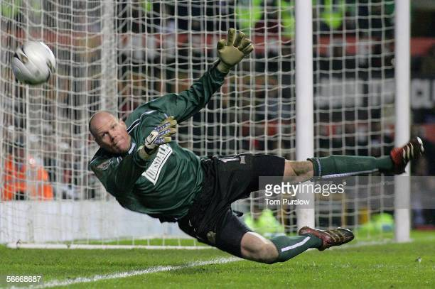 Brad Friedel of Blackburn Rovers in action on the ball during the Carling Cup semi-final second leg match between Manchester United and Blackburn...