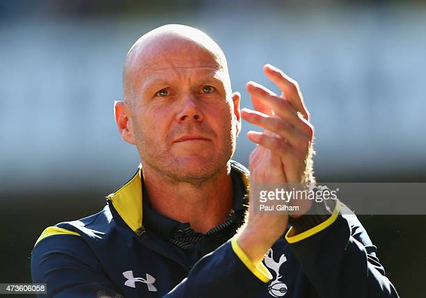 Brad Friedel of Spurs applauds the fans after the Barclays Premier League match between Tottenham Hotspur and Hull City at White Hart Lane on May 16...