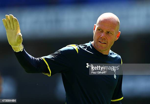 Brad Friedel of Spurs waves during the Barclays Premier League match between Tottenham Hotspur and Hull City at White Hart Lane on May 16 2015 in...