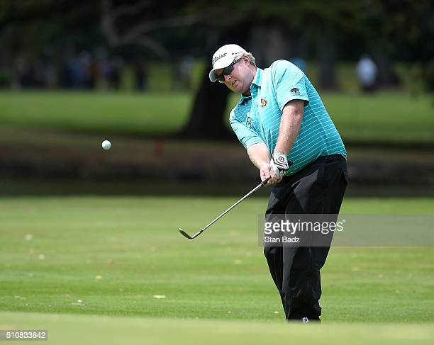 Brad Fritsch hits a chip shot on the 11th hole during the second round of the Webcom Tour Club Colombia Championship Presented by Claro at Bogotá...