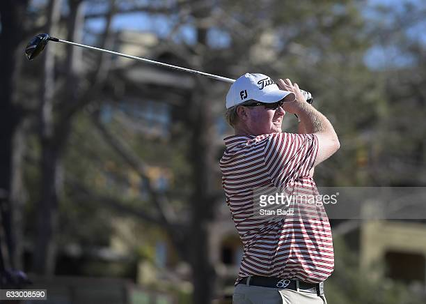 Brad Fritsch of Canada hits a tee shot on the tenth hole during the second round of the Farmers Insurance Open at Torrey Pines Golf Course on January...