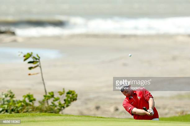 Brad Fritsch of Canada hits out of a bunker on to the 16th green during the final round of the Cartagena de Indias at Karibana Championship at the...