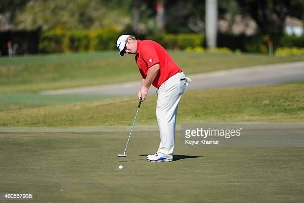 Brad Fritsch of Canada makes a birdie putt on the ninth hole green on the Champion Course during the sixth and final round of the Webcom Tour QSchool...