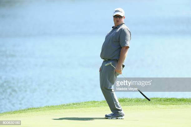 Brad Fritsch of Canada reacts on the 17th green during the third round of the Travelers Championship at TPC River Highlands on June 24 2017 in...