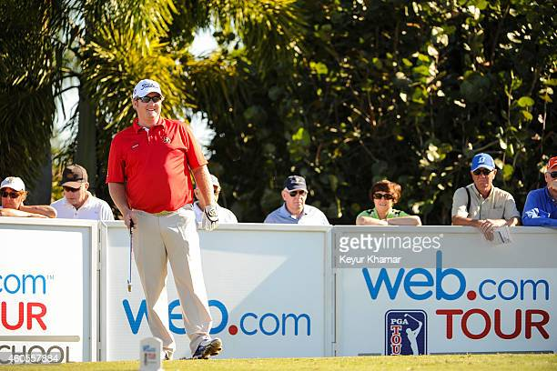 Brad Fritsch of Canada smiles before teeing off on the first hole of the Champion Course during the sixth and final round of the Webcom Tour QSchool...