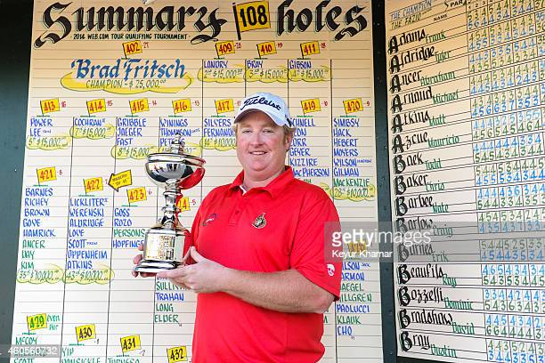Brad Fritsch of Canada smiles with the Championship trophy following his sevenstroke victory in the sixth and final round of the Webcom Tour QSchool...