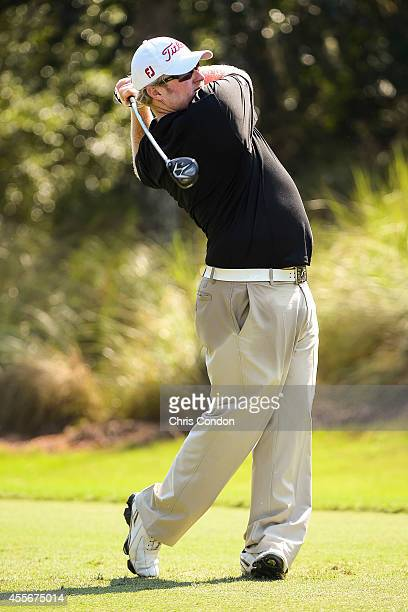 Brad Fritsch of Canada tees off on the 17th hole during the first round of the Webcom Tour Championship at TPC Sawgrass Dye's Valley Course on...