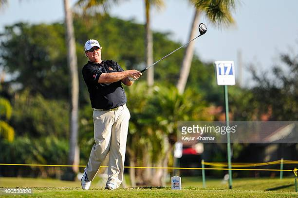 Brad Fritsch of Canada tees off on the 18th hole of the Fazio Course during the fifth round of the Webcom Tour QSchool at PGA National on December 15...