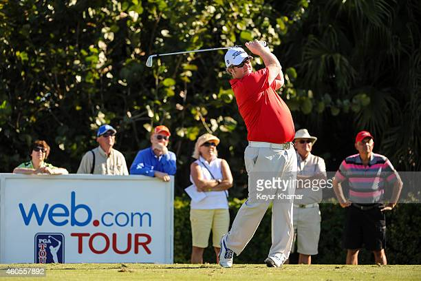 Brad Fritsch of Canada tees off on the first hole of the Champion Course during the sixth and final round of the Webcom Tour QSchool at PGA National...