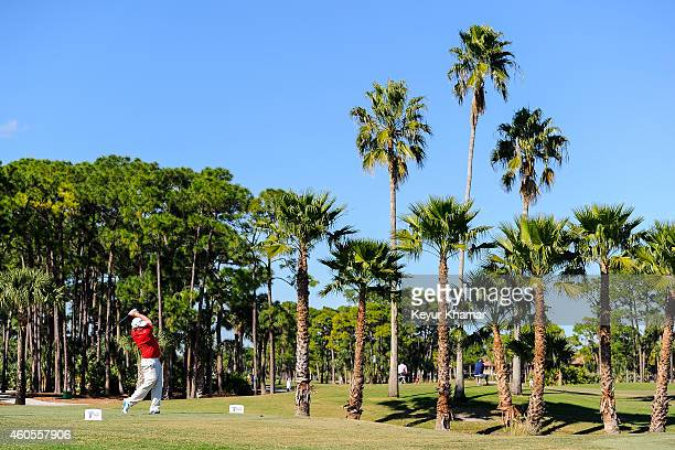 Brad Fritsch of Canada tees off on the ninth hole on the Champion Course during the sixth and final round of the Webcom Tour QSchool at PGA National...