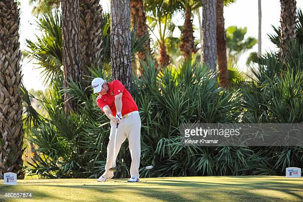 Brad Fritsch of Canada tees off on the second hole of the Champion Course during the sixth and final round of the Webcom Tour QSchool at PGA National...