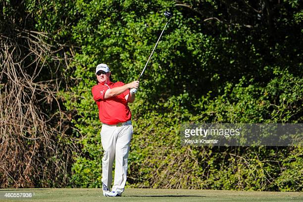 Brad Fritsch of Canada tees off on the third hole of the Champion Course during the sixth and final round of the Webcom Tour QSchool at PGA National...