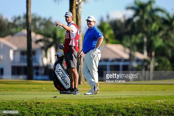 Brad Fritsch of Canada waits to hit a shot on the 18th hole fairway of the Champion Course during the fourth round of the Webcom Tour QSchool at PGA...