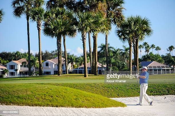 Brad Fritsch of Canada watches his fairway bunker shot on the 18th hole of the Champion Course during the fourth round of the Webcom Tour QSchool at...