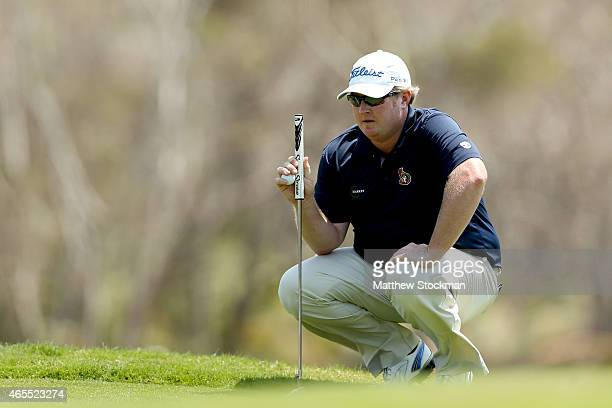 Brad Fritsch of the United States lines up a putt on the 2nd green during the third round of the Cartagena de Indias at Karibana Championship at the...