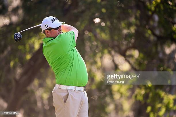 Brad Fritsch tees off on the 12th hole during the first round of The RSM Classic at Sea Island Resort Plantation Course on November 17 2016 in Sea...