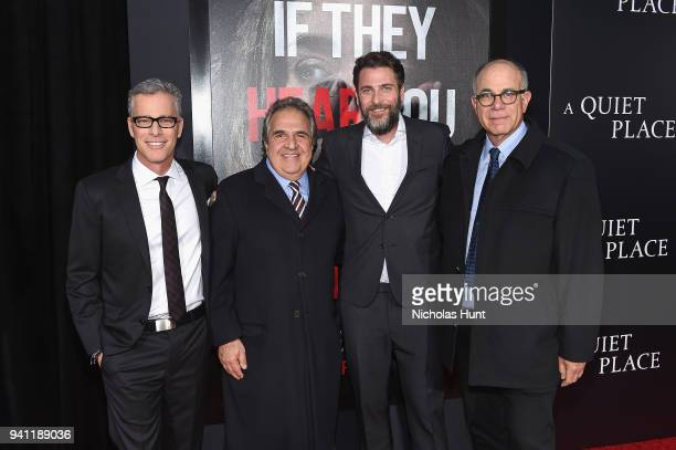 Brad Fuller Jim Gianopulos John Krasinski and David Sameth attend the Paramount Pictures New York Premiere of 'A Quiet Place' at AMC Lincoln Square...